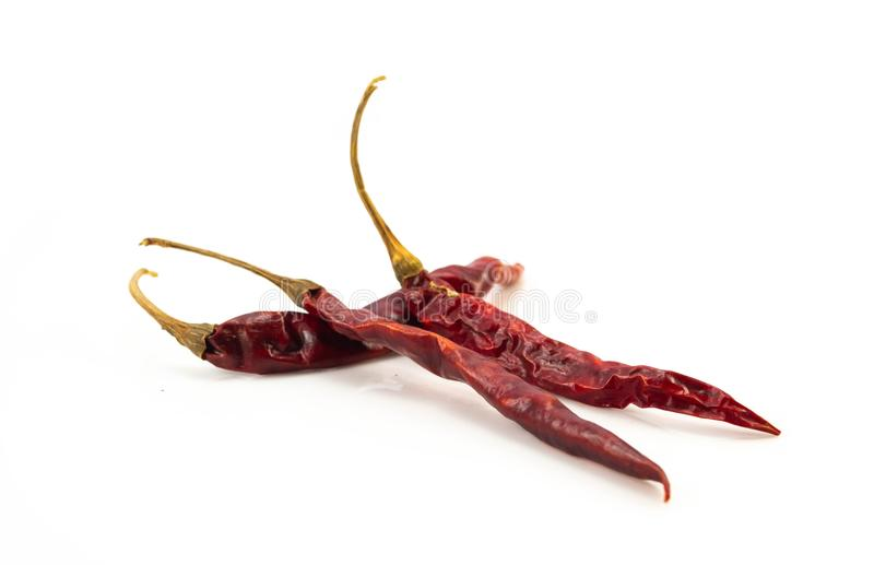 在白色backg隔绝的干红色辣椒或辣椒辣椒 免版税库存图片