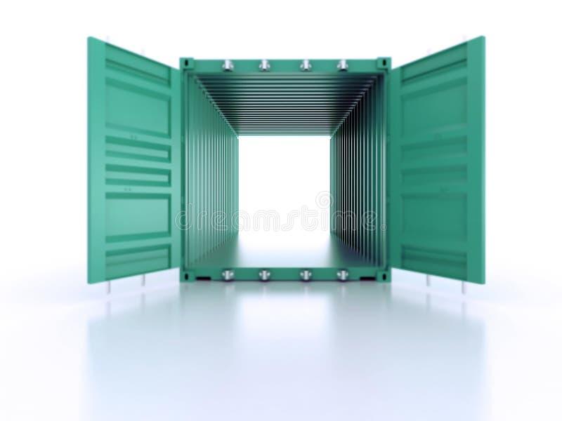 在白色backgr的鲜绿色的开放空的金属运输货柜 库存例证