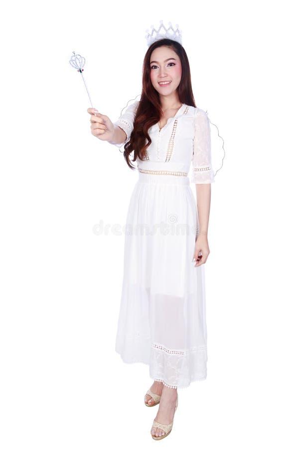 在白色backgr隔绝的美好的少妇天使画象 免版税图库摄影