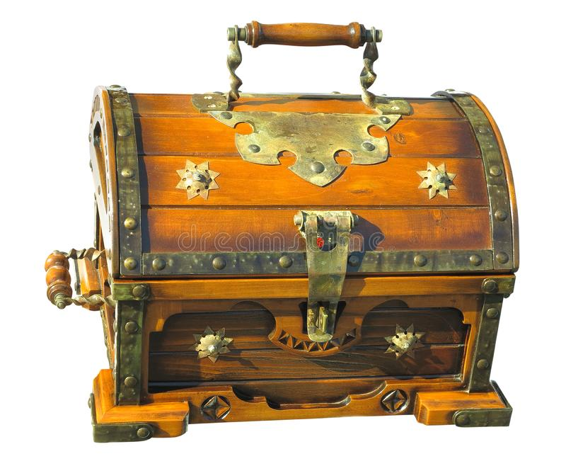 在白色backgr隔绝的老木棕色葡萄酒宝物箱 库存图片