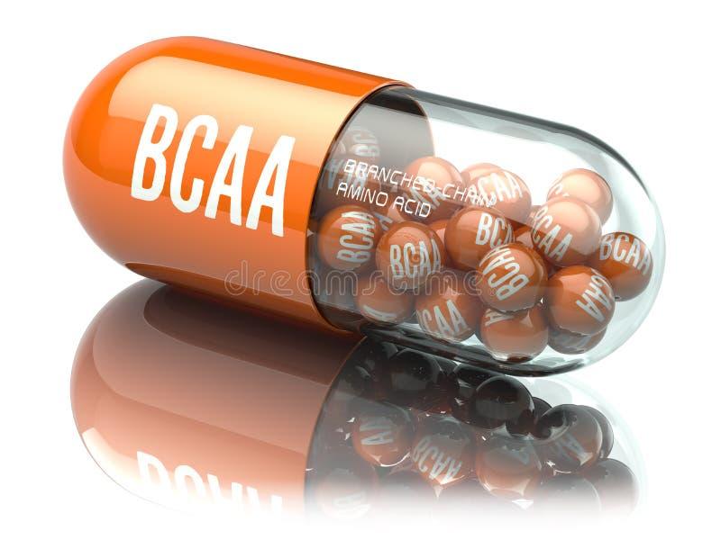 在白色backgr隔绝的BCAA支链氨基酸capsiule 皇族释放例证