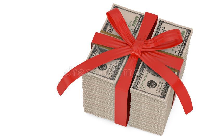 在白色backgro包装与红色弓礼物概念隔绝的美元 皇族释放例证