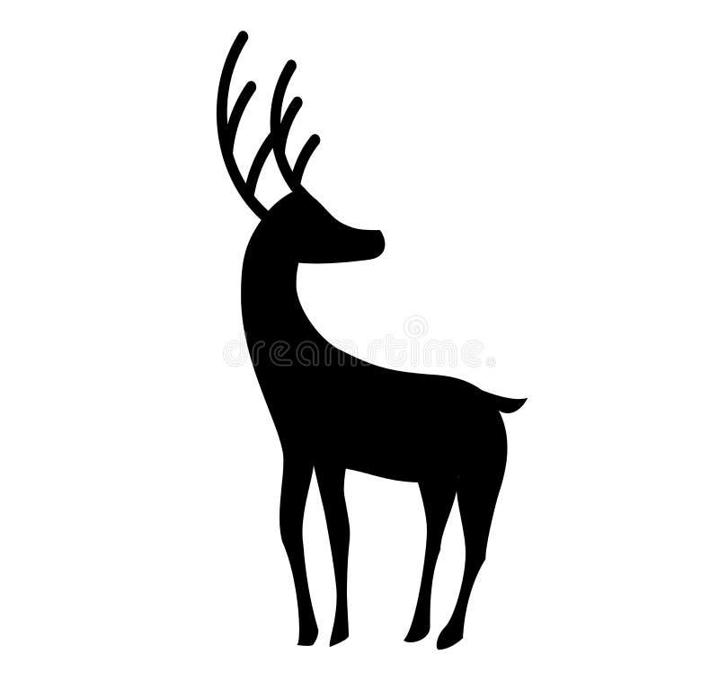 在白色backgrou隔绝的常设驯鹿黑剪影图片