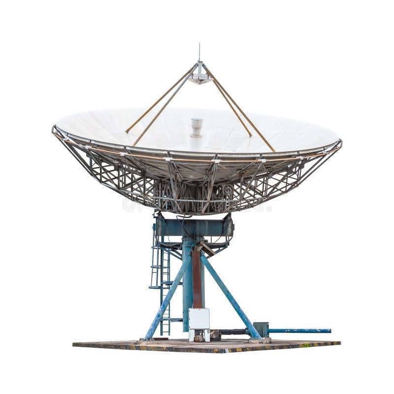 在白色backgrou隔绝的卫星盘天线雷达大大小 库存照片