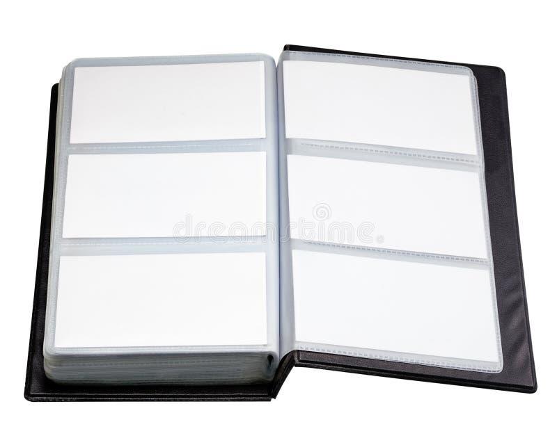 在白色Backgrou隔绝的老开放皮革名片持有人 库存照片