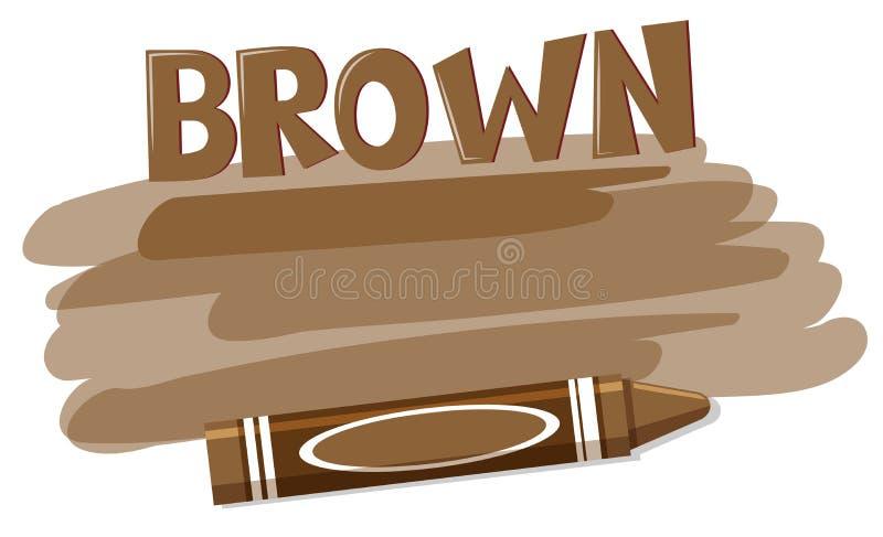 在白色backgroubd的一只棕色颜色蜡笔 库存例证