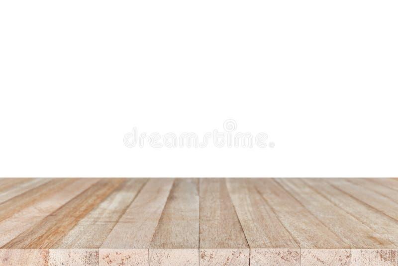 在白色backgroun或柜台隔绝的空的上面木桌 免版税库存照片