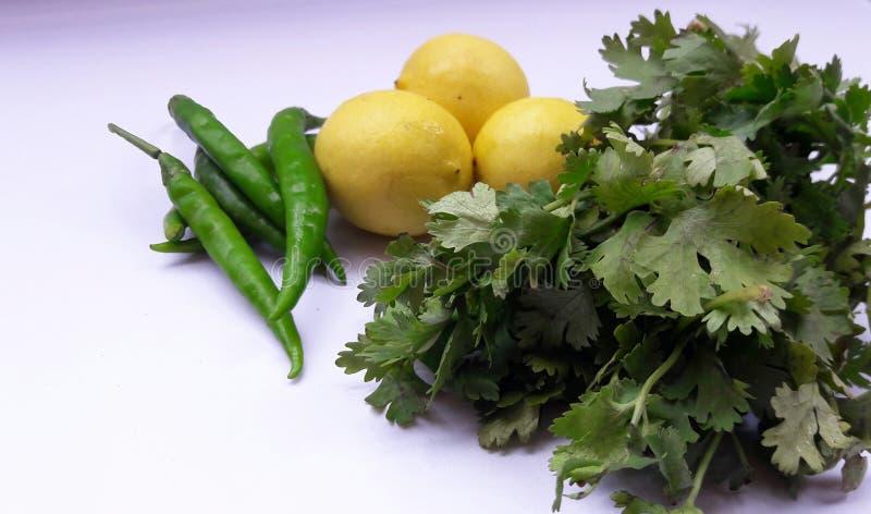 在白色backgroynd隔绝的菜绿色辣椒柠檬和香菜叶子 免版税库存图片