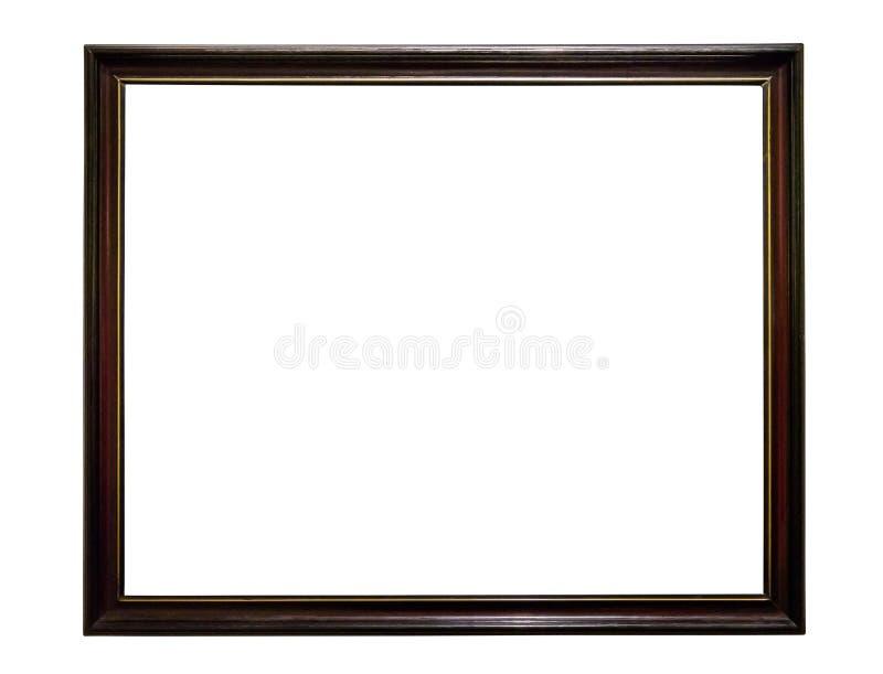 在白色backround的黑暗的木画框 免版税库存图片