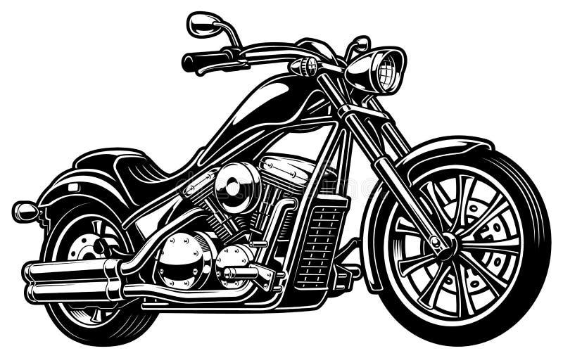 在白色bakcground的葡萄酒单色摩托车 向量例证