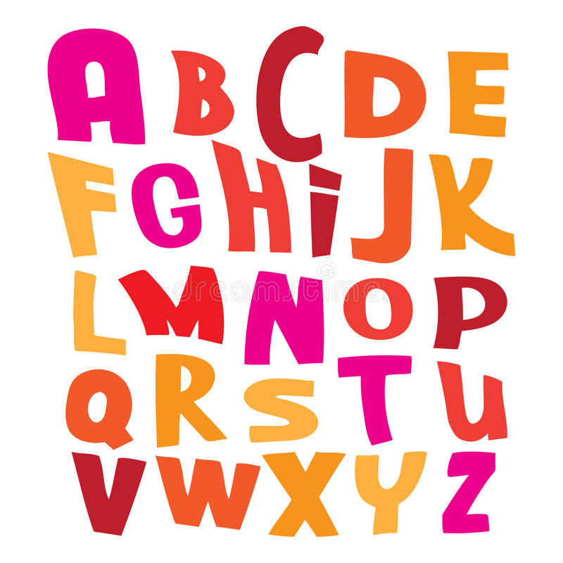 在白色illustra的五颜六色的传染媒介字母表信件 向量例证