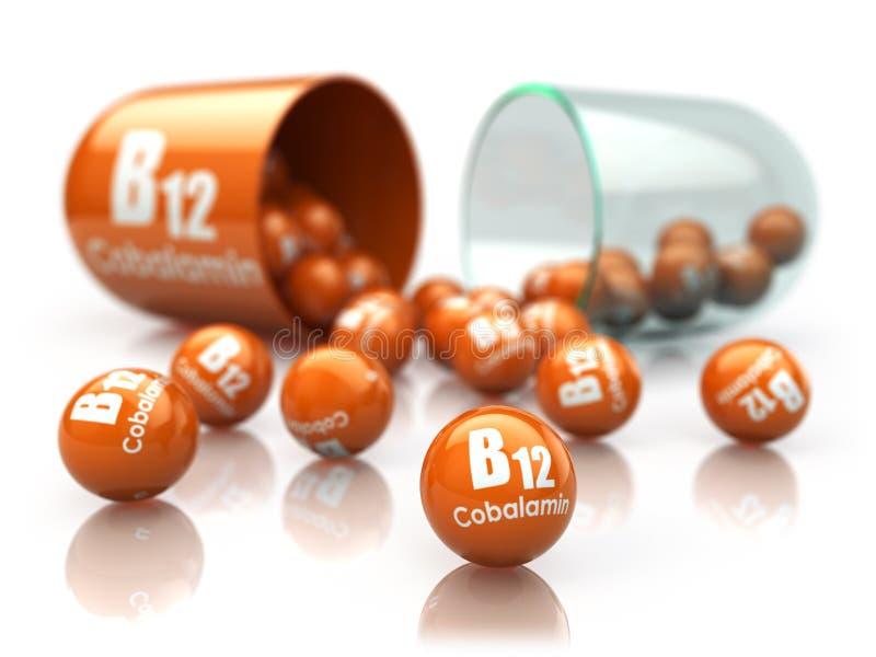 在白色isoilated的维生素B12胶囊 与维生素B12的药片 中断 库存例证