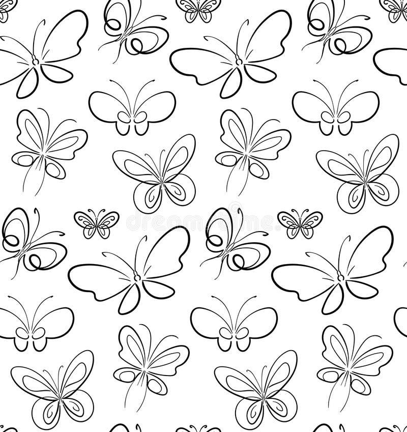 在白色simbols的蝴蝶集合样式黑色 皇族释放例证