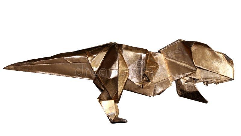 在白色T-REX隔绝的Origami恐龙 免版税库存图片