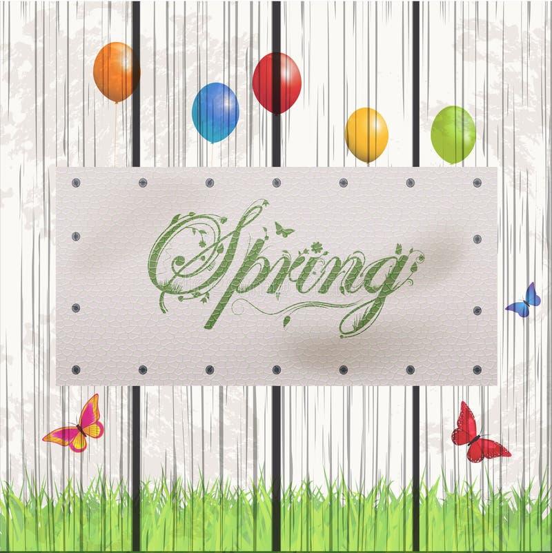 在白革标签的春天花卉文本 库存例证