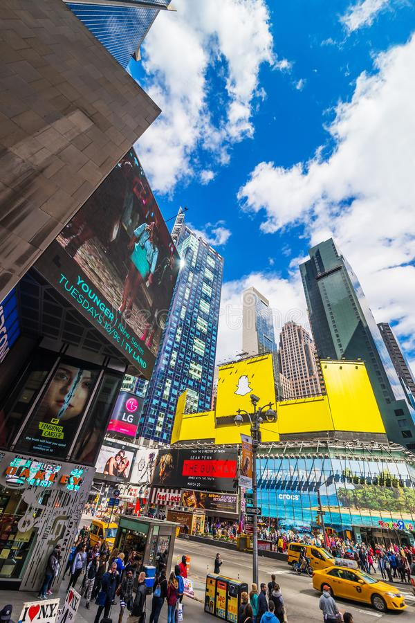 在百老汇的交通在时代广场NYC 库存图片