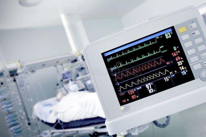 在的心脏显示器与患者一起使用 库存图片