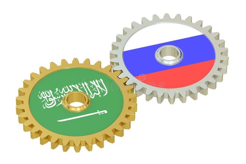 在的沙特阿拉伯和俄罗斯旗子齿轮, 3D翻译 向量例证