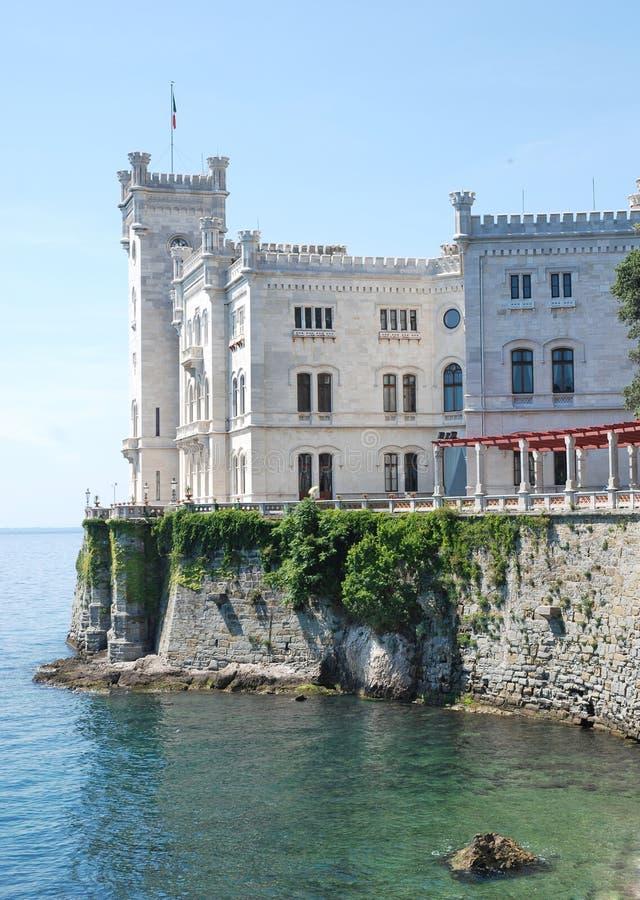 在的里雅斯特附近的城堡城市意大利mi 免版税库存图片
