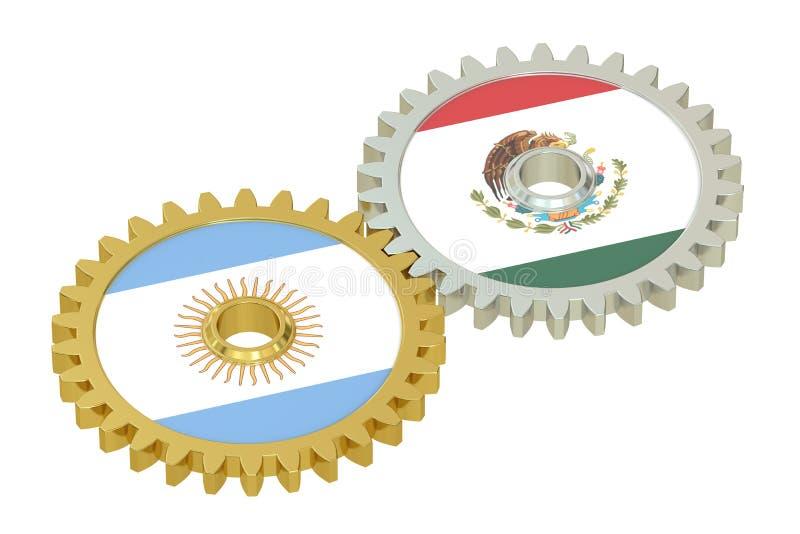 在的阿根廷和墨西哥旗子齿轮, 3D翻译 库存例证