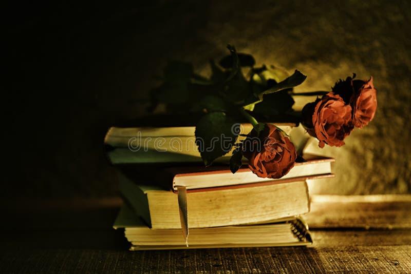在的静物画花书老在深红玫瑰色flowe口气葡萄酒样式 免版税库存照片