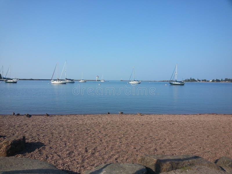 在的风船湖岸 免版税库存照片