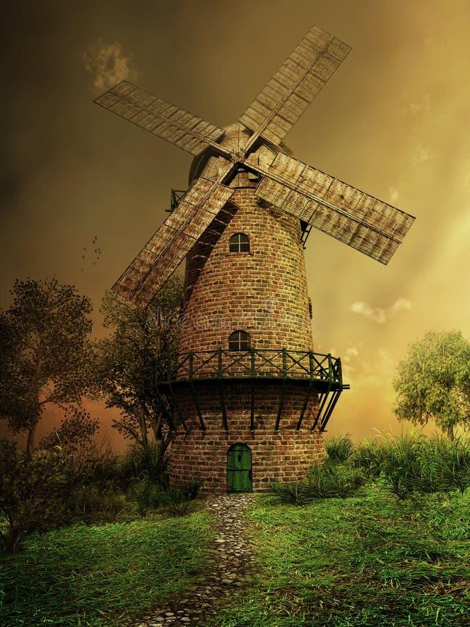 在的风车小山 向量例证