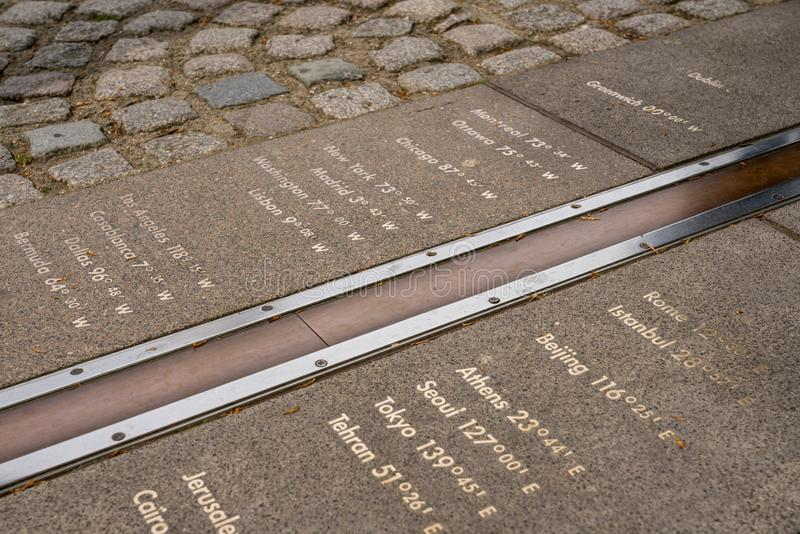 在皇家观测所的格林威治子午线 免版税图库摄影