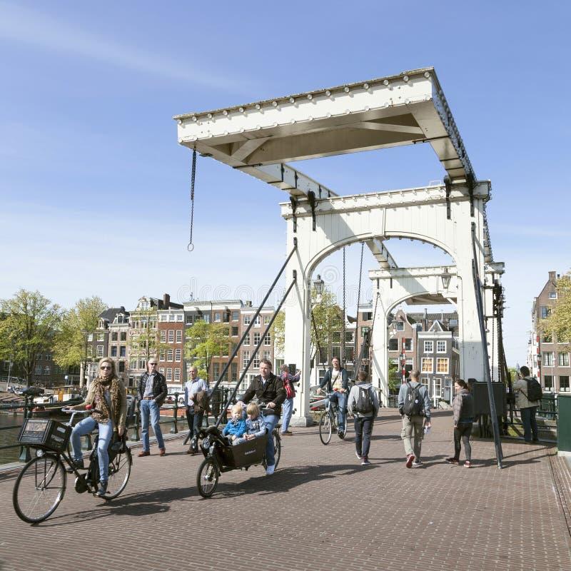 在皮包骨头的桥梁的自行车在阿姆斯特丹中心 免版税库存照片