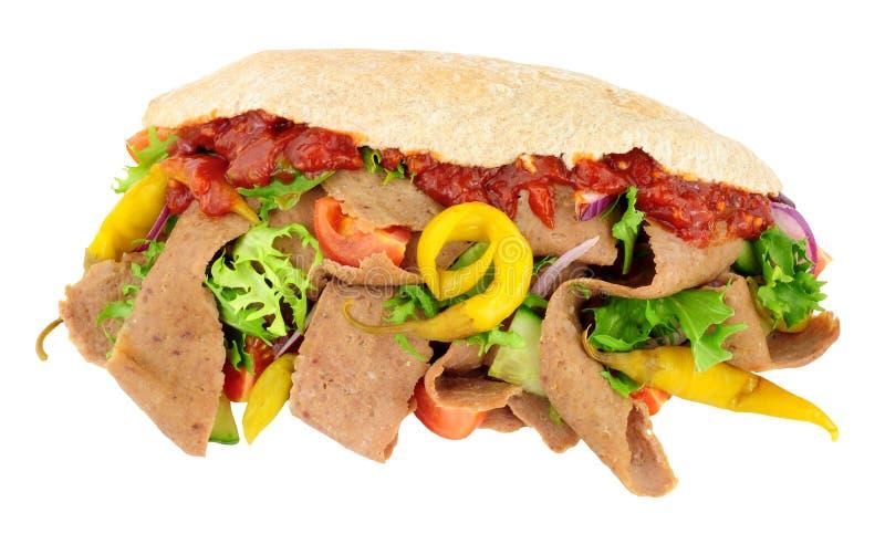 在皮塔面包的Doner Kebab和沙拉 库存照片