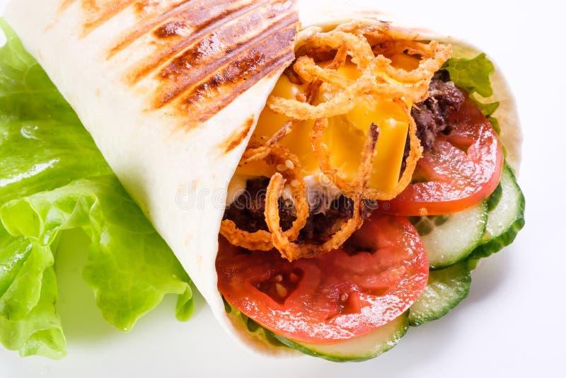 在皮塔饼面包的Shawarma 库存图片