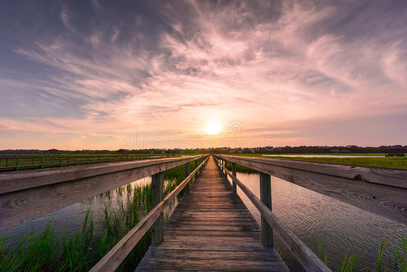 在盐沼的木板走道日落的 库存照片