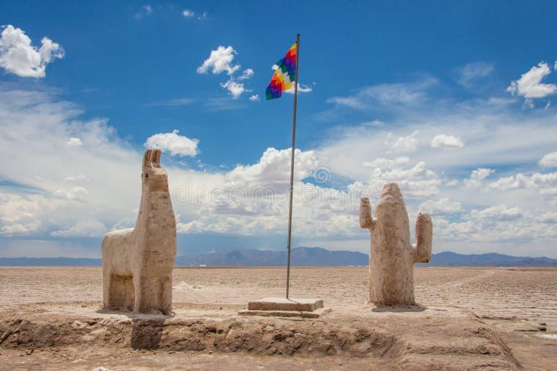 在盐沼盐溶雕塑Grandes,阿塔卡马沙漠  免版税图库摄影