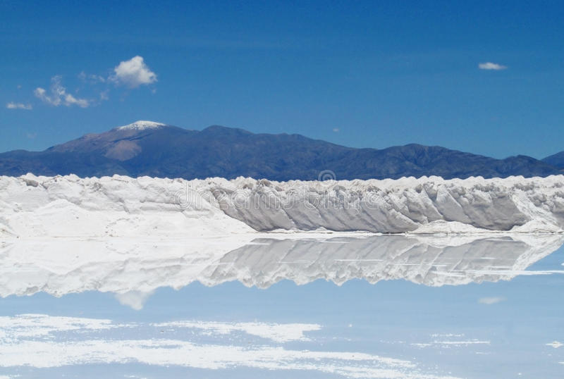 在盐湖的盐形式 免版税库存照片