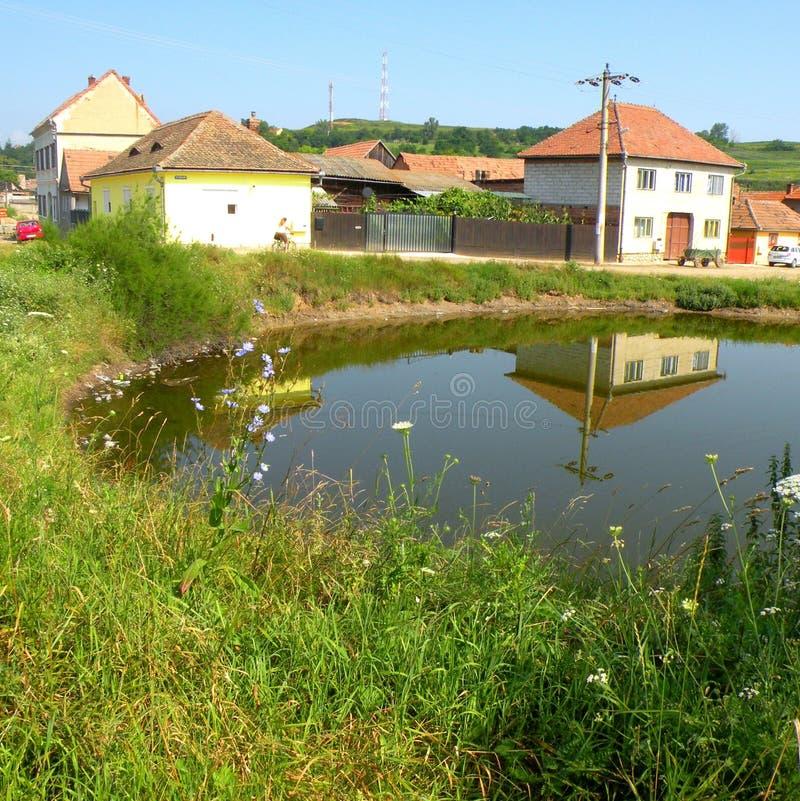 在盐湖锡比乌盐矿镇环境美化,在锡比乌Hermanstadt附近,特兰西瓦尼亚 库存图片