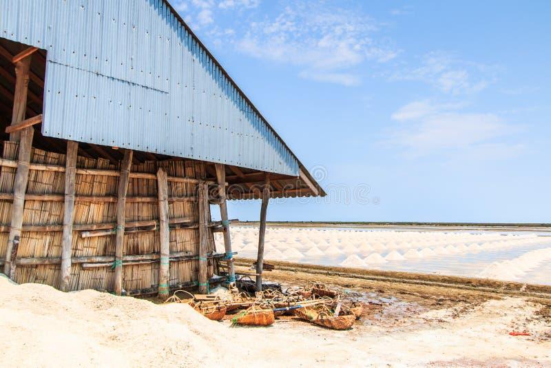 在盐领域的小屋 免版税图库摄影