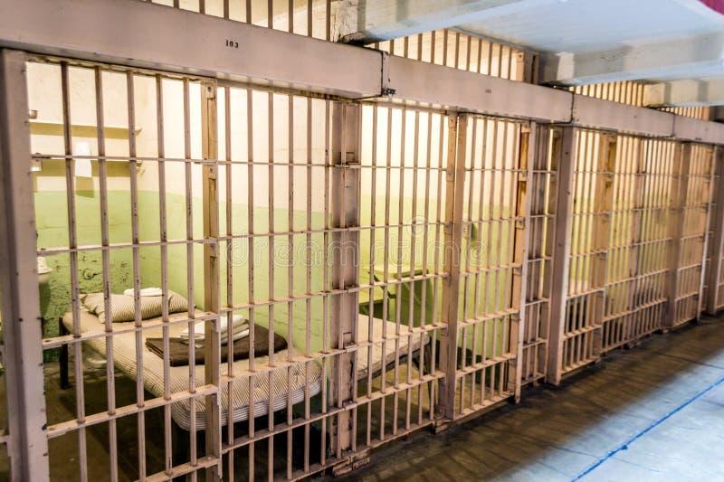 在监狱牢房里面的Alcatraz 免版税图库摄影