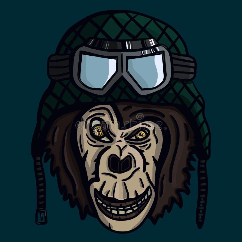在盔甲的猴子枪口 向量例证