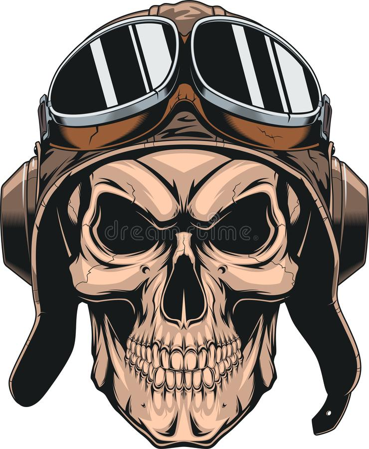 在盔甲飞行员的头骨 库存例证