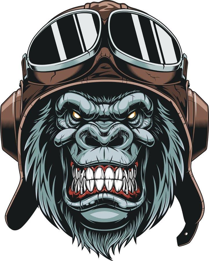 在盔甲飞行员的猴子 向量例证