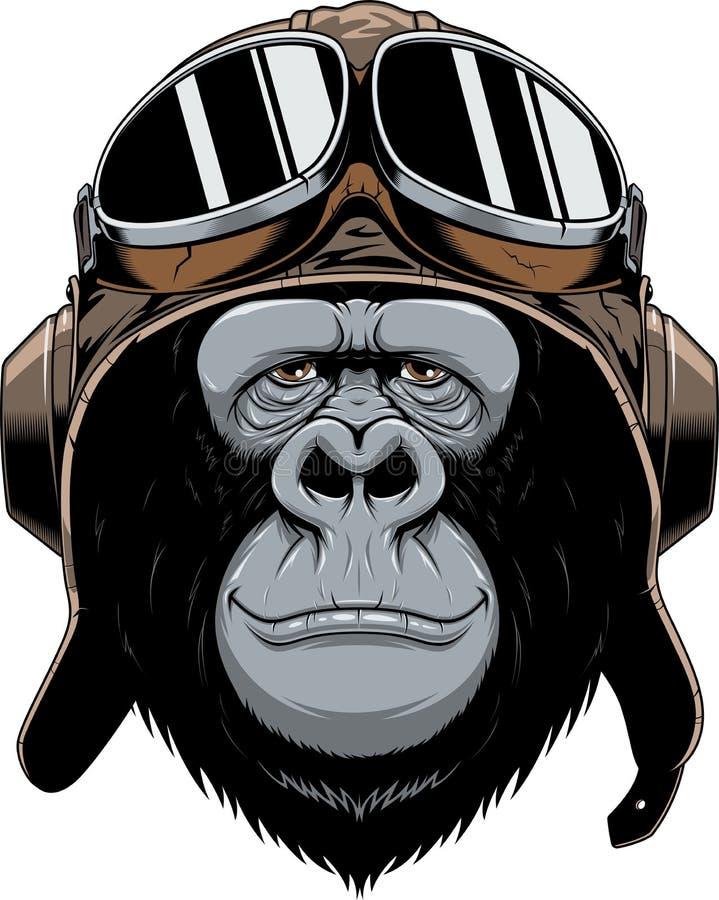 在盔甲飞行员的猴子 库存例证