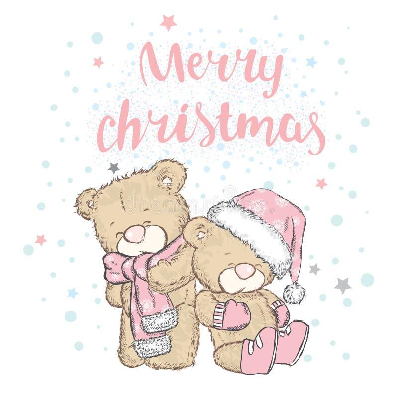 在盖帽和围巾的逗人喜爱的熊 卡片或海报的传染媒介例证 在衣裳的印刷品 男孩节假日位置雪冬天 圣诞节和新的肯定 向量例证