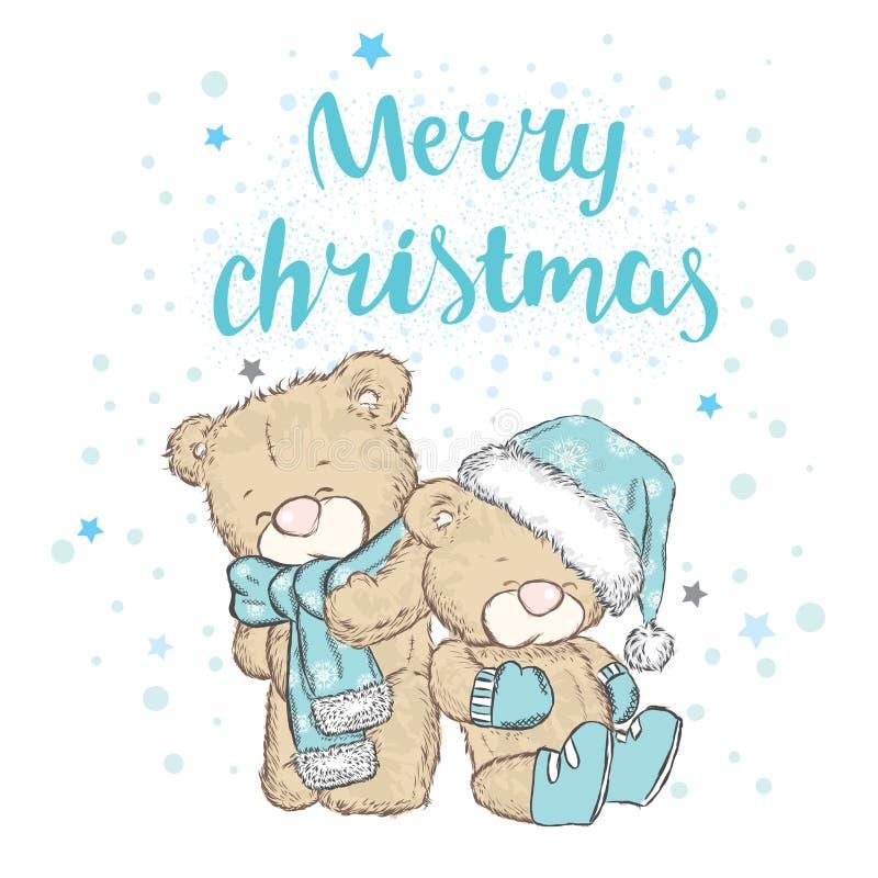 在盖帽和围巾的逗人喜爱的熊 男孩节假日位置雪冬天 圣诞节和新的肯定 库存例证