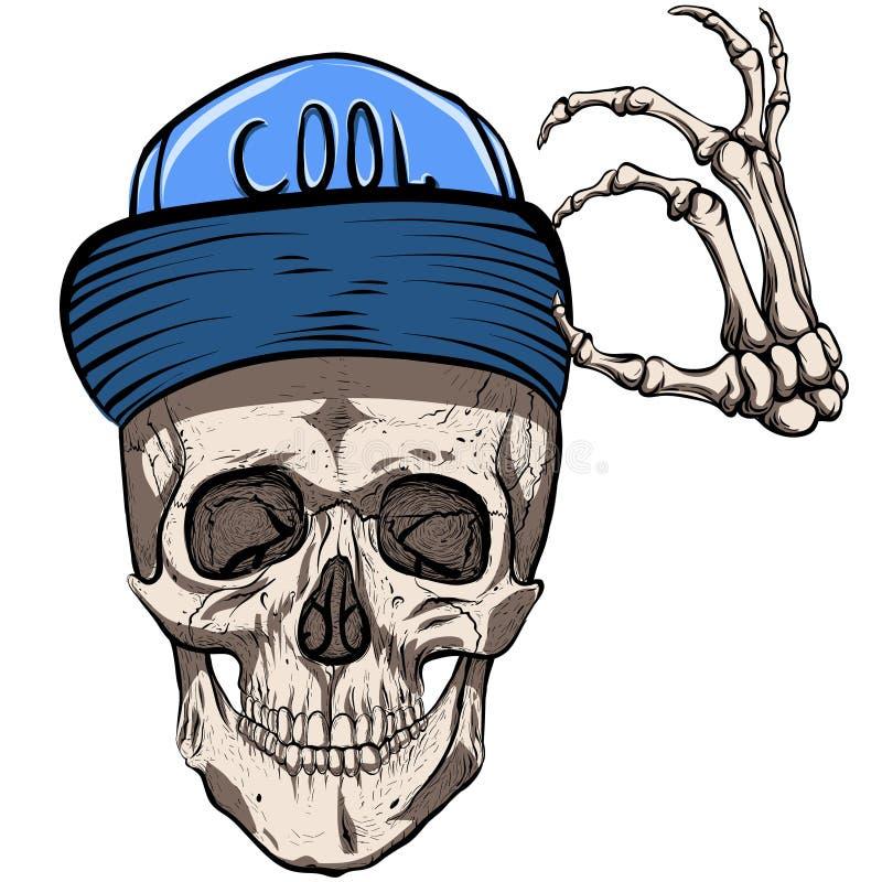 在盖帽的头骨 向量例证