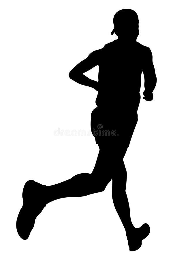 在盖帽的运动员赛跑者 库存例证
