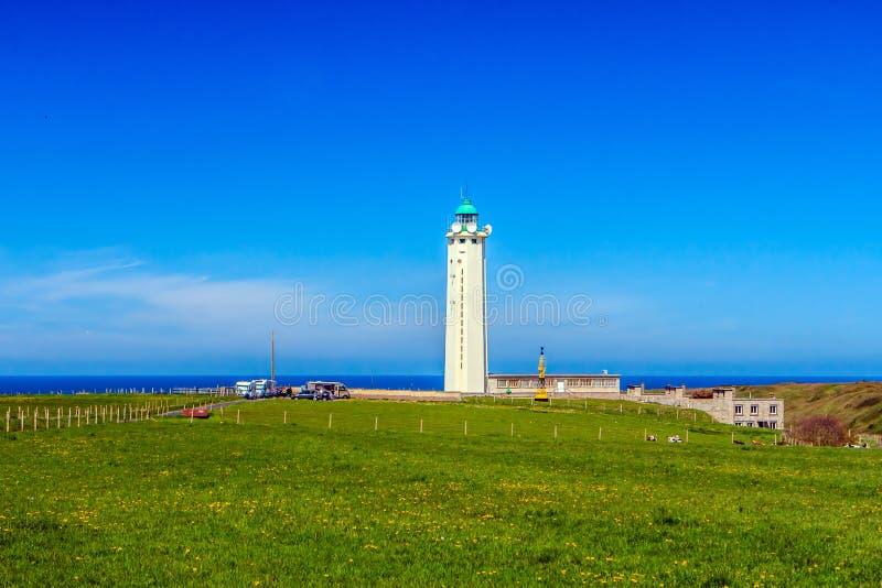 在盖帽dAntifer,塞纳河-海事,法国的灯塔 库存图片