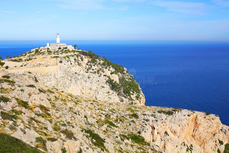 在盖帽Formentor的灯塔在马霍卡岛,西班牙,一幅全景 库存图片