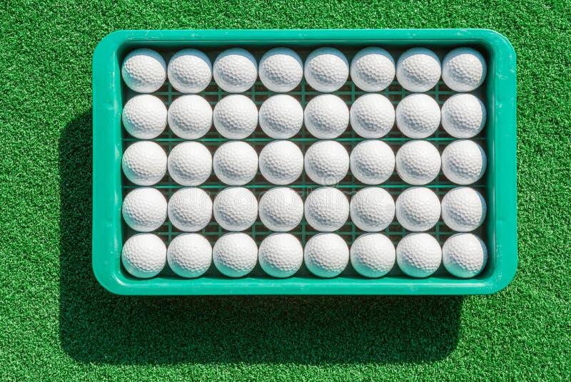 在盘子的新的高尔夫球在高尔夫球的绿草实践 图库摄影