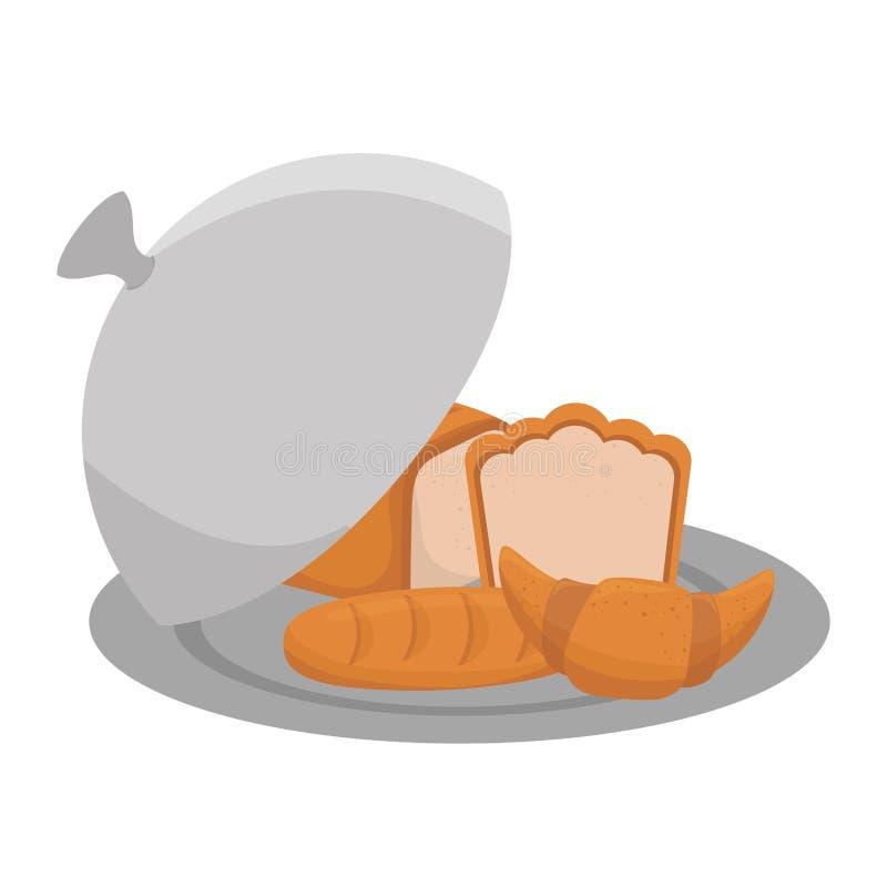 在盘子菜单象的面包 向量例证