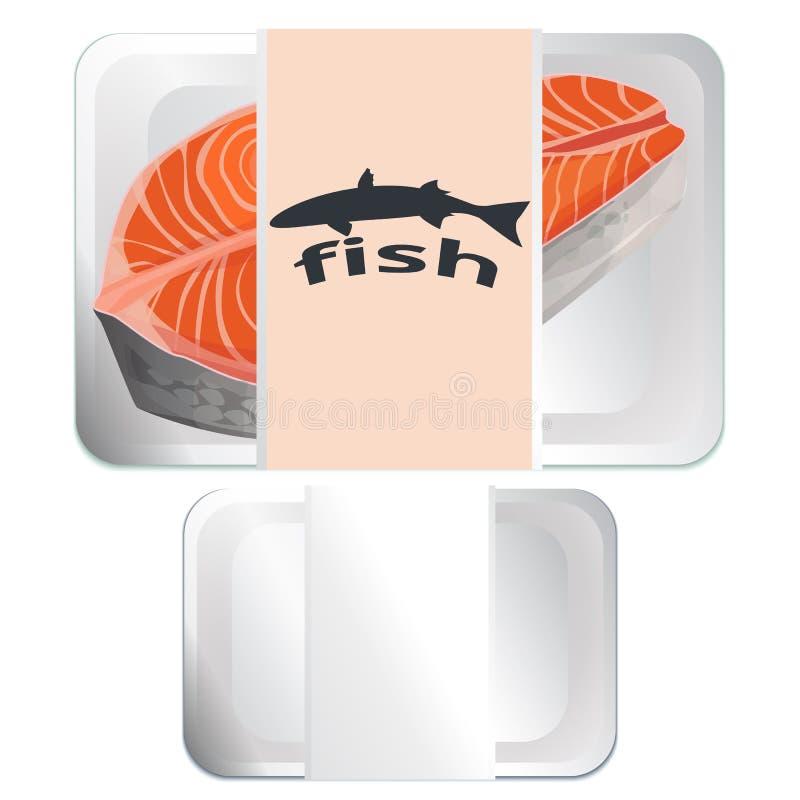 在盘子,空的盘子设计的牛排鱼 向量例证
